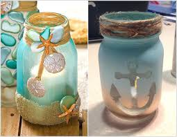 beach candle holder craft a candle holder by painting and decorating a mason jar diy beach beach candle holder