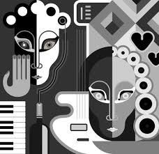 Musical Party Abstract Illustration Black And White Stylized