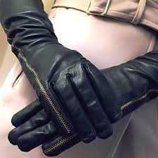 elbow length las leather gloves with zips