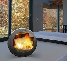 modern fireplace with a spheric shape