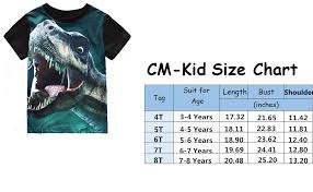 Child T Shirt Size Chart By Age Little Boys T Shirt Dinosaur T Rex Short Sleeve Crewneck Cotton Tee Shirt 3 8 Years