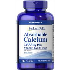 Puritan's Pride <b>Absorbable Calcium</b> 1200 mg with Vitamin D 1000 IU ...