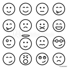 Fotografie Obraz Set Of Outline Emoticons Emoji Isolated On White