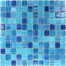 Fliesen Blau Glasmosaik Mix Weiss Gestreift Mosaik Badezimmer