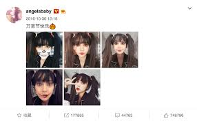 angelababy an a list chinese star and the representative of meitu tried the 5 virtual halloween makeup looks and shared on her weibo account during