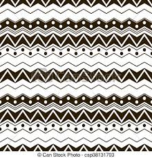 Abstract Seamless Black And White Pattern With Ethnic Motifs Cute