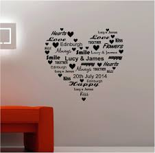 personalised wall decals personalised word heart vinyl wall art quote sticker love personalised word heart sticker on personalised wall art stickers quotes with personalised wall decals personalised word heart vinyl wall art