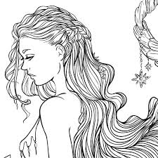 Line Drawing Coloring Pages Adult Coloring Page Fantasy Moon And