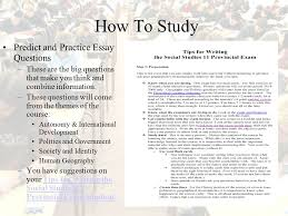 preparing for the social studies provincial exam ppt video  how to study predict and practice essay questions
