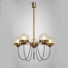 vintage glass ball pendant lamp 5 heads antique metal hanging light hotel lobby restaurant living room