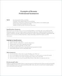Examples Of Summaries For Resumes Examples Of Qualifications For A Resume Arzamas