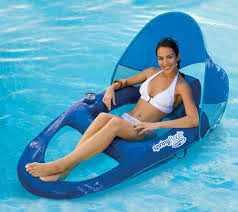 swimways spring float recliner pool lounge chair sun canopy blue inflatable new