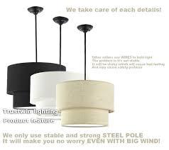 double drum chandelier shade ceiling light linen pendant large