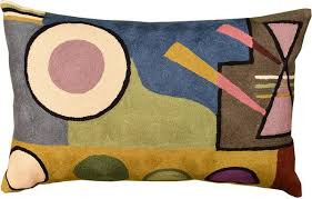 lumbar kandinsky composition vi decorative pillow cover hand embroidered wool 13 x 21
