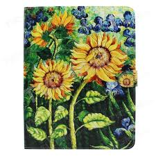 leather flip case wallet for ipad 4 3 2 sunflower oil painting 1