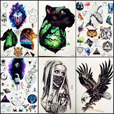 черная пантера лес временная татуировка мужчины женский боди арт