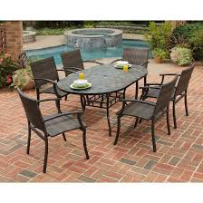 faux stone table exterior tops round glass top patio with umbrella hole inch square plastic furniture rectangular outdoor dining for and chairs garden black