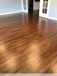 refinished red oak hardwood floors living room entryway and room