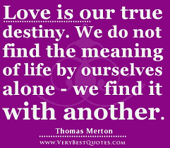 The Meaning Of Love Quotes Custom Love Is Our True Destiny We Do Not Find The Meaning Of Life
