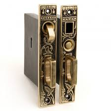 Small Leaf Double Pocket Door Mortise Lock Privacy Blackened