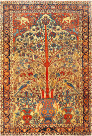 antique persian fine sarouk farahan tree of life rug 48624 detail large view