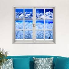 Artificial Window Snow Mountain 3d Artificial Window View Pag Wall Decals Lake View