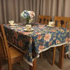 curcya royal blue tablecloth american fl pattern rectangular dining table cover decorative square tea coffee table
