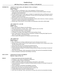 Art Assistant Resume Samples Velvet Jobs