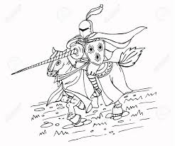 Middeleeuwse Speerridder Op Paard Zwart En Wit Geïsoleerde