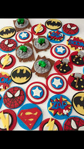 Superhero Cupcake Toppers Liams First Birthday Fondant Cupcakes