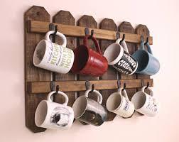 reclaimed wood mug rack urban rustic. Coffee Mug Rack|Cup Holder|Mug Rack|Mug Holder|Coffee Cups| Reclaimed Wood Rack Urban Rustic L