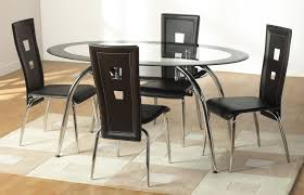 glass kitchen table sets and brown chairs