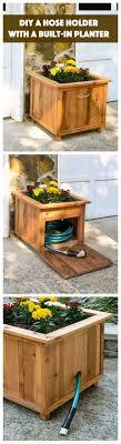 diy planter box hose holder