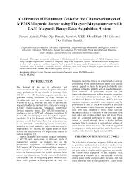 calibration of helmholtz coils for the characterization of mems magnetic sensor using fluxgate magnetometer with das1 magnetic range data acquisition system