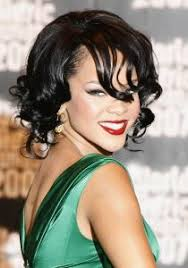 rihanna with curly bob hairstyle