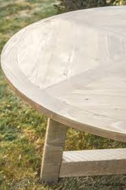 diy wood beam round dining table plans and tutorial