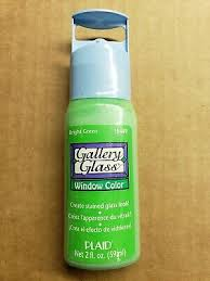 plaid gallery glass paint 16449 2 oz bright green create stained glass look