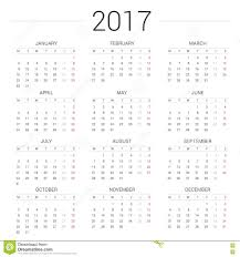 Calendar 2017 White Background Week Starts Monday Stock