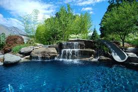 inground pools with waterfalls. NJ Natural Swimming Pools Raised Spa Boulder Waterfall And Water Slide Inground With Waterfalls N