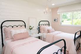 Shabby Chic Girls Dollhouse Bedroom With Ruffled Blush Bed Linens And White  Shingle Accent Wall (
