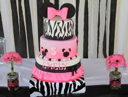 Pink And Black Minnie Mouse Decorations Zebra Cakes Decoration Ideas Little Birthday Cakes