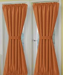 solid rust colored french door curtains lined or unlined