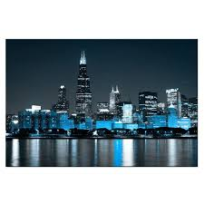 chicago wall large canvas painting skyline at night picture wall art modern architecture buildings coastline poster