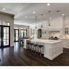Impressive White Kitchen Dark Floors The Contrast Of And Wood Decor