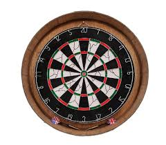 With a warm honey finish, the frame is unassuming and unintrusive, but its personality and depth is apparent. Reclaimed Wine Barrel Head Wood Dartboard Set