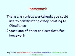 psya social influence ppt homework there are various worksheets you could use to construct an essay relating to obedience
