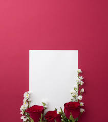 Paper Flower Cutter Beautiful Red Roses With Little White Cutter Flowers On White Paper
