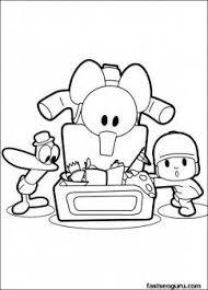 Free Printable Coloring Sheet Pocoyo Pato Elly Play With Toys