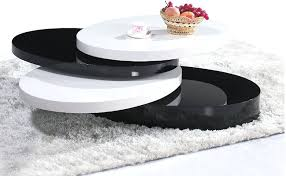 rotating coffee table round in black high gloss