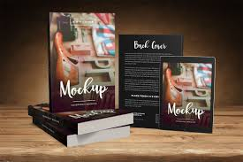 big 6 x 9 book promo mockup with tablet 6 x 9 paperback book mockup with front and back cover